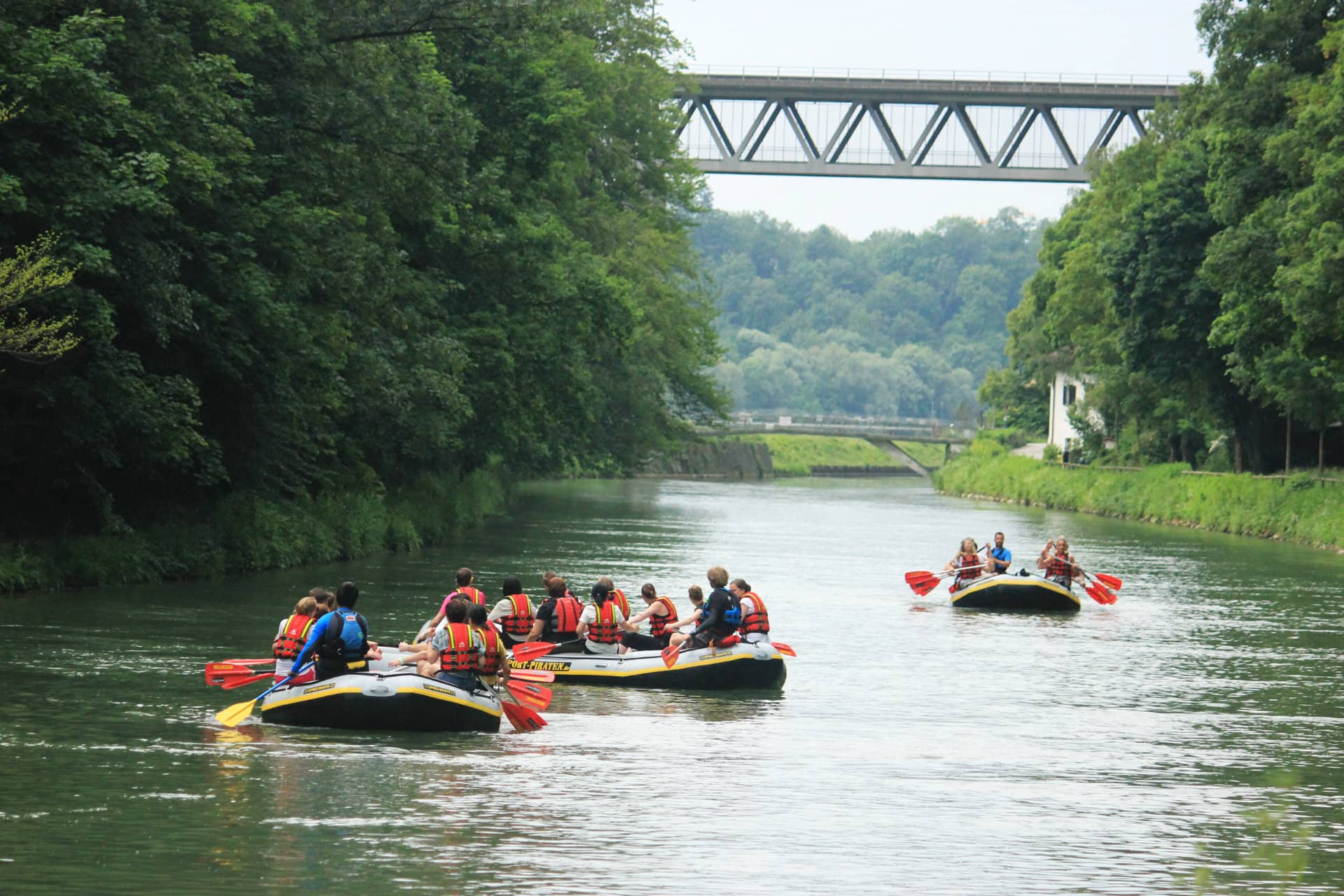 Schlauchboottour Isar Gruenwald - München
