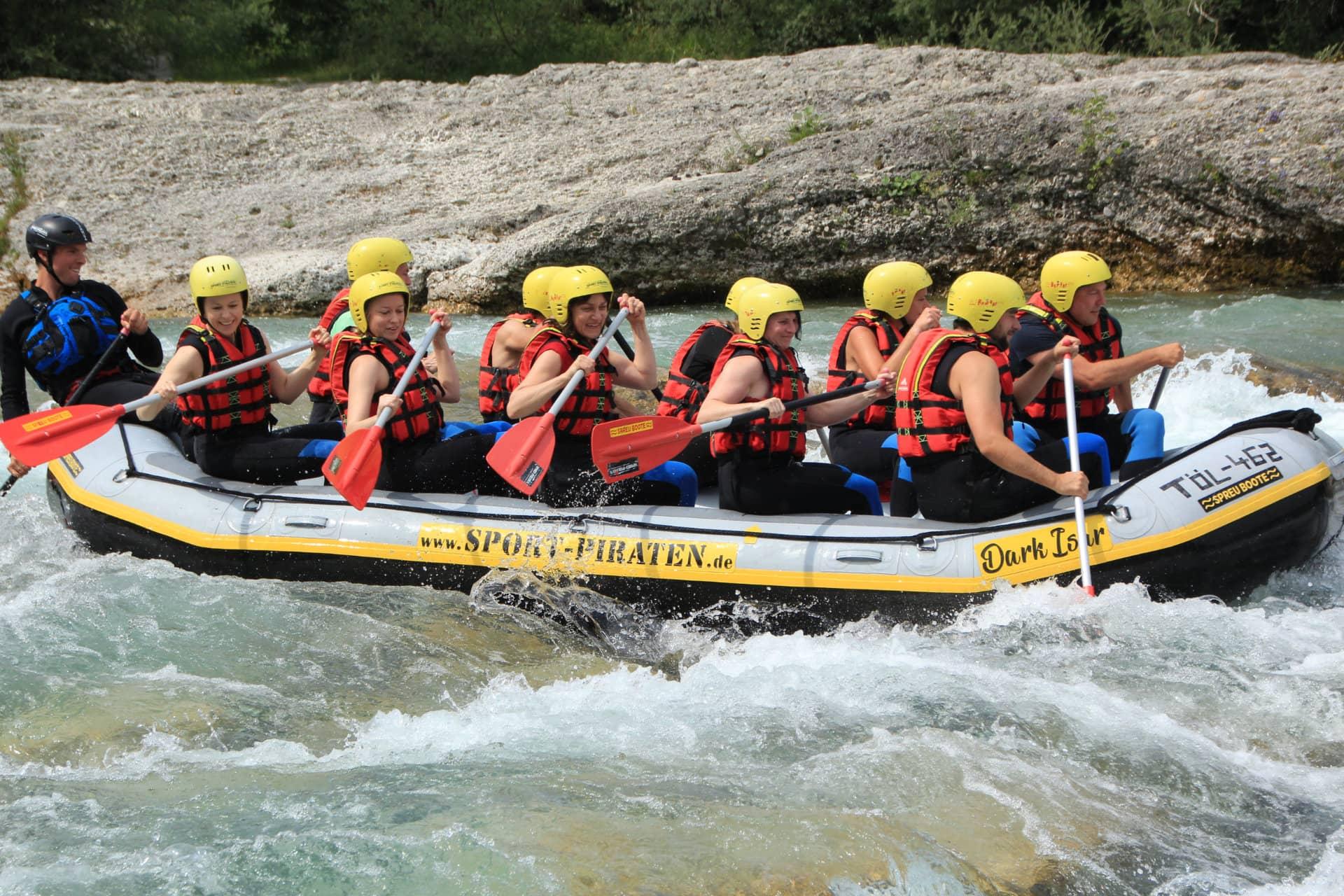 Teamevent Rafting Isar, Lenggries, Bayern